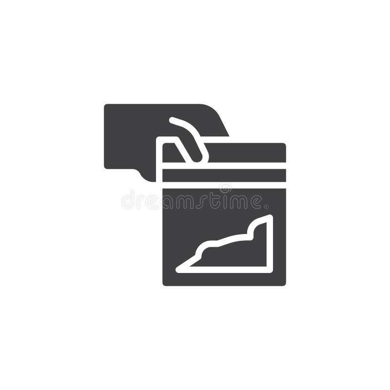 Main donnant une icône de vecteur de paquet de cocaïne illustration de vecteur
