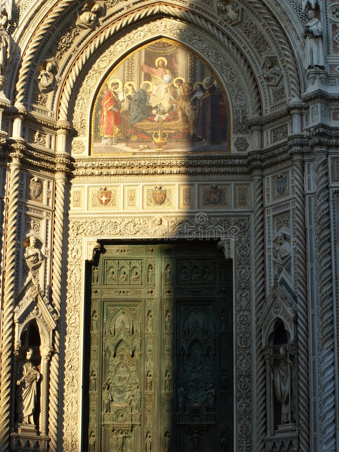 The main door of the cathedral stock photo