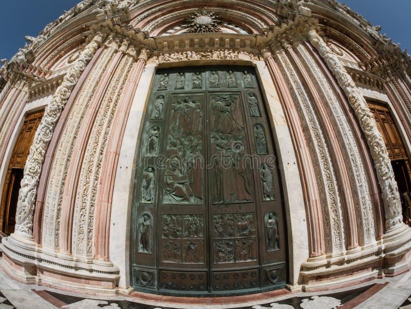 Main door of Siena Cathedral, Italy stock photo