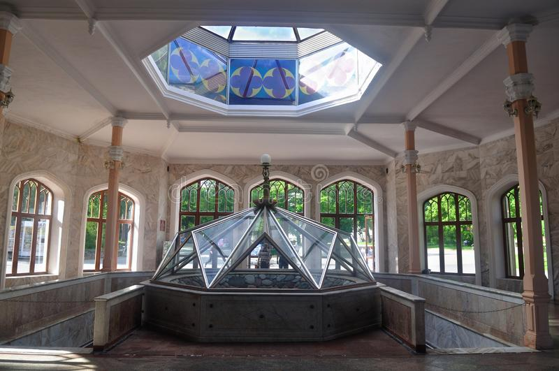 The main drinking gallery. Kislovodsk. Russia. Interior of a premise with a source of mineral water royalty free stock images