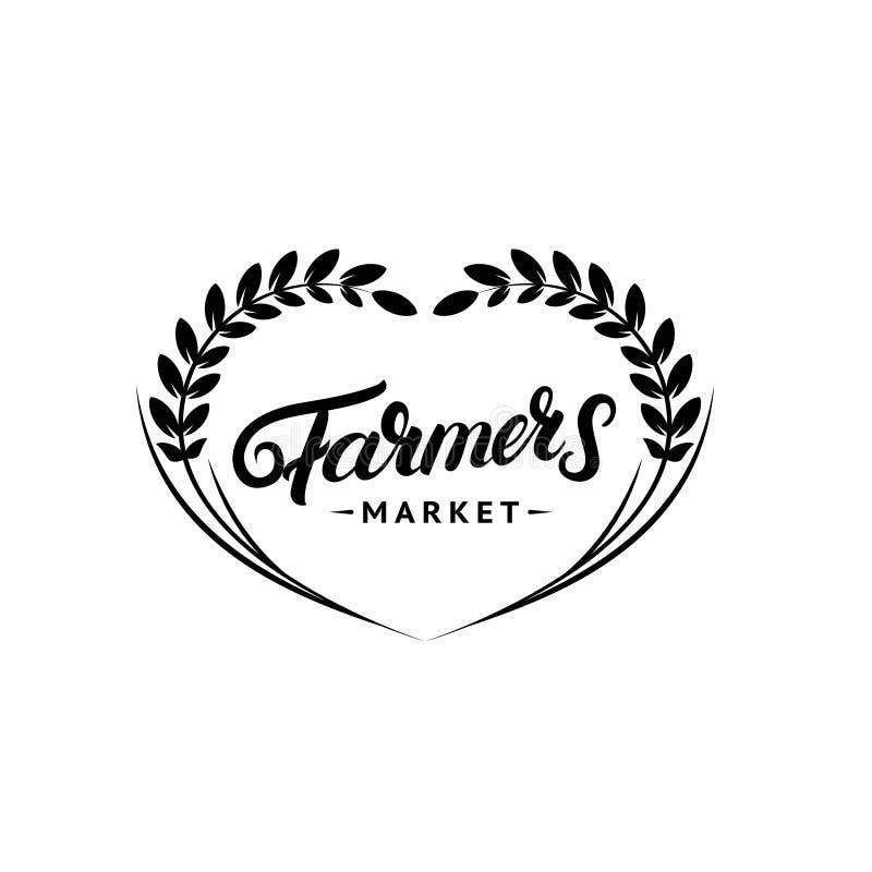 Main du marché d'agriculteurs écrite marquant avec des lettres le logo, label, insigne, emblème illustration stock