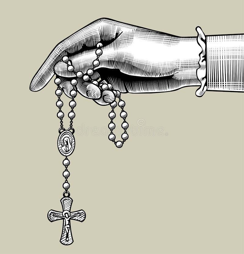Main du ` s de femme avec des perles de prière illustration libre de droits
