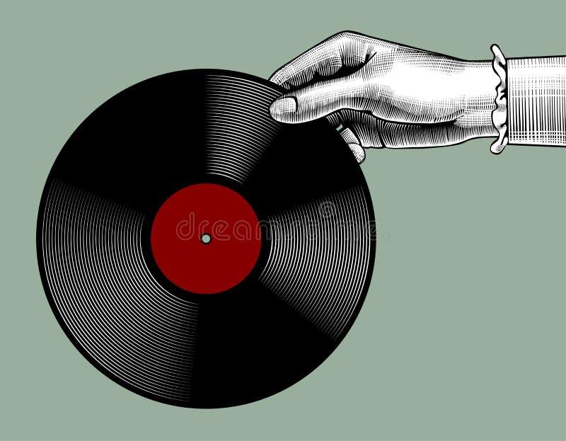 Main du ` s de femme avec un disque de phonographe illustration de vecteur