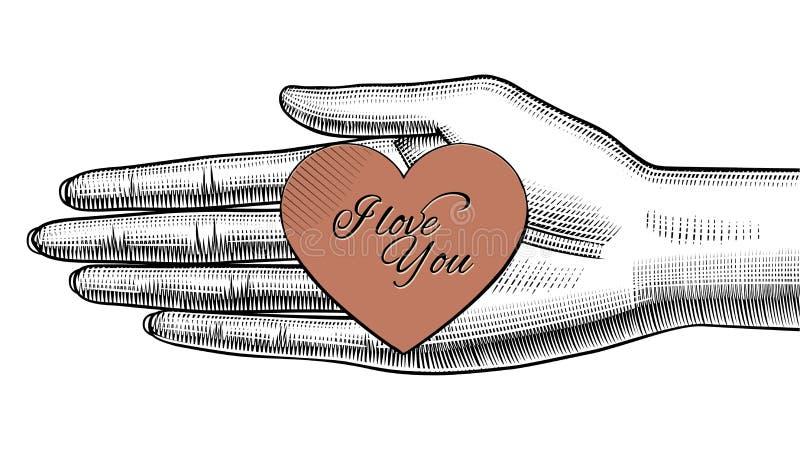 Main du ` s de femme tenant dessus la paume un coeur de papier rouge avec amour Y d'I illustration stock