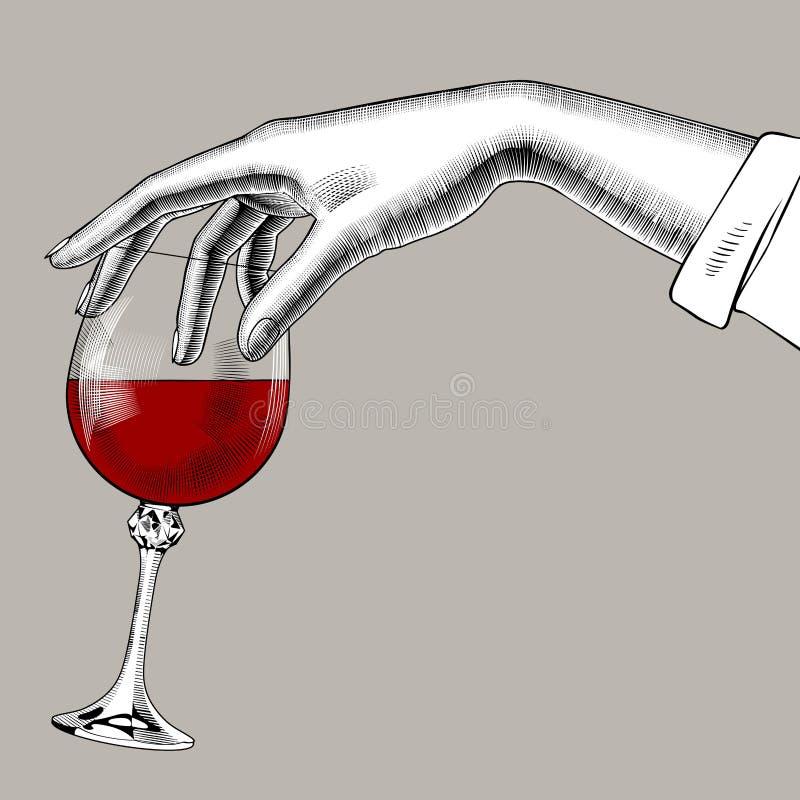 Main du ` s de femme tenant un verre avec le vin rouge illustration stock
