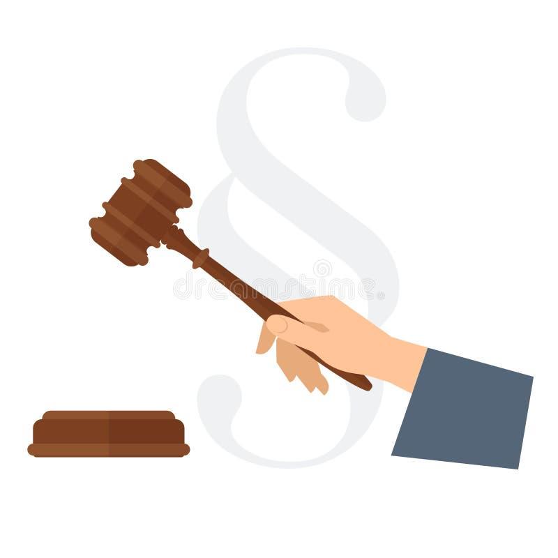 Main du ` s de juge tenant le marteau en bois Illus plat de concept de loi de vecteur illustration libre de droits