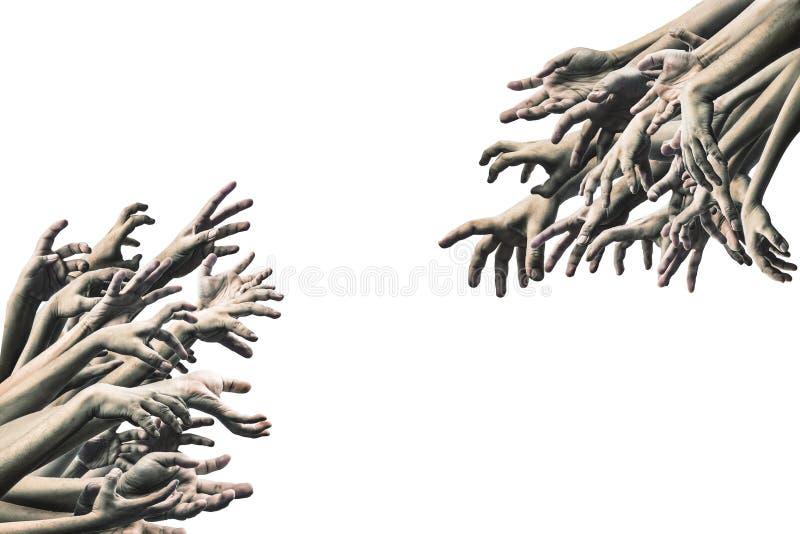 Main effrayante de zombi d'isolement sur le fond blanc image libre de droits