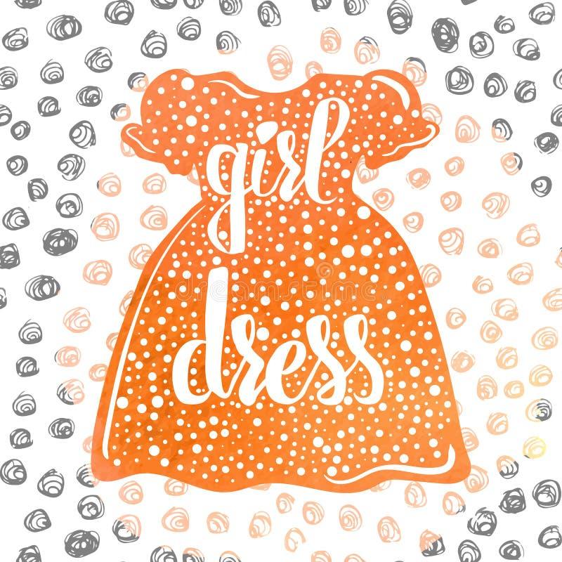 Main-en lettres les vêtements et les robes des enfants colorés de publicité par affichage pour de petites filles Vecteur illustration libre de droits