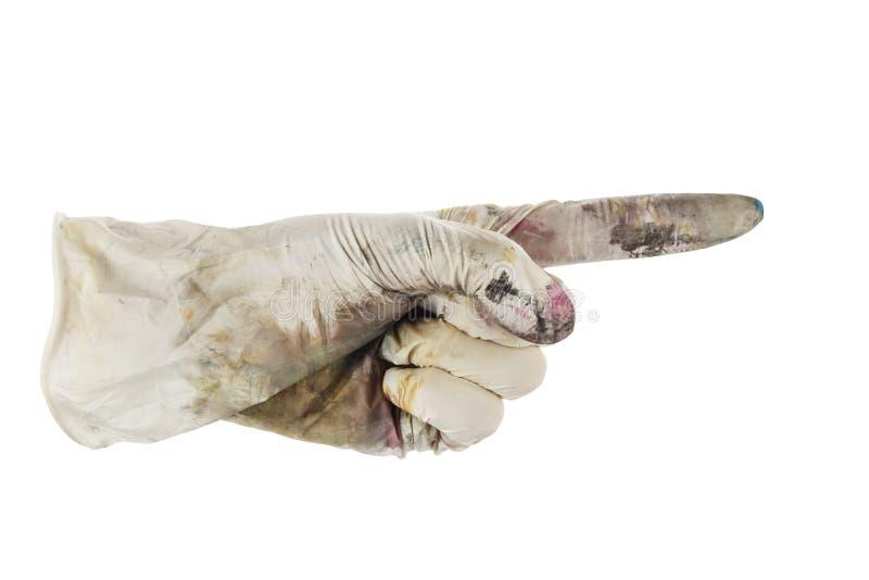 Main enfilée de gants se dirigeant pour redresser photos stock