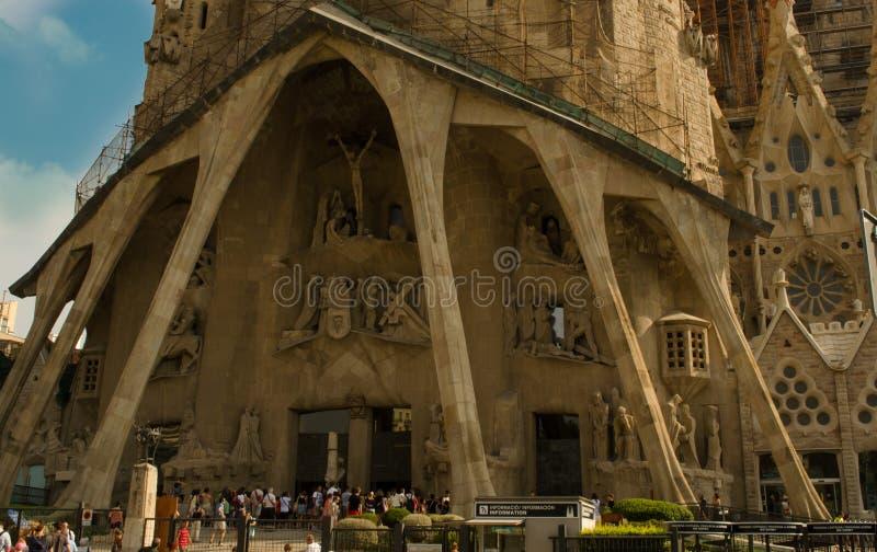 Main enterance to Sagrada Familia, church royalty free stock photography