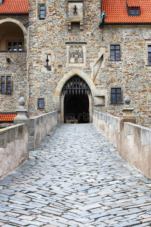 Main entrance of Bouzov castle. The main entrance of Bouzov castle, Czech Republic royalty free stock photography