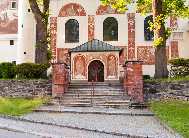 Main entrance of catholic church of St. Cunigunde, Czech republic. Main entrance with stairs to Catholic Church of St. Cunigunde in Nove Mesto na Morave, Czech royalty free stock images
