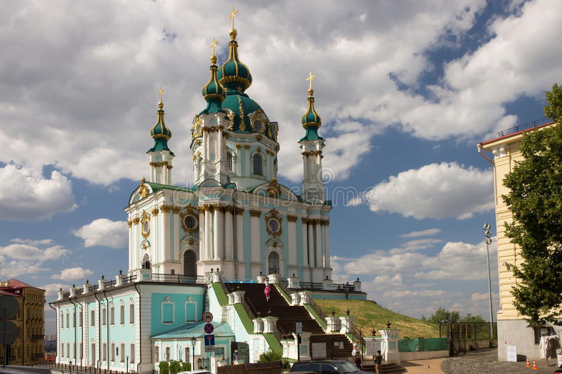 The main entrance of the church of St. Andrew in Kiev stock image