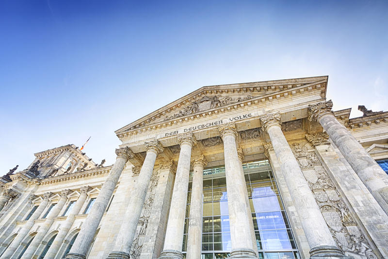 Main entrance and columns of the Reichstag royalty free stock images