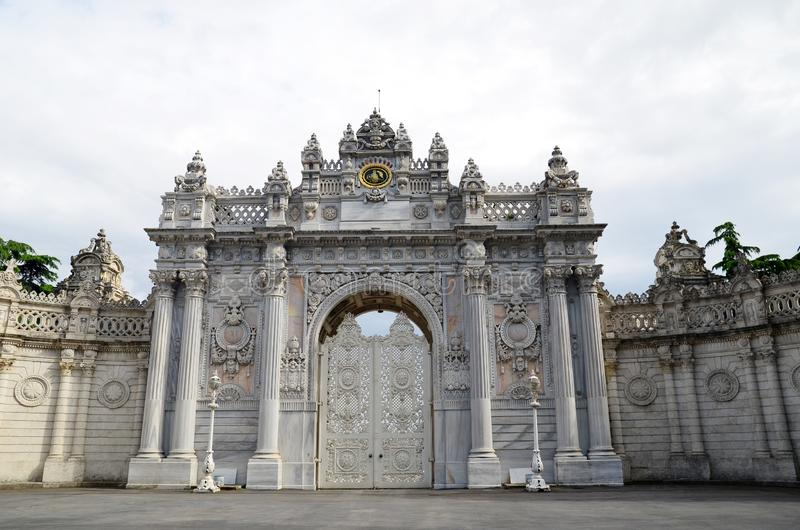 Main entrance door of dolmabahce palace in Istanbul, Turkey. Palace Gate in baroque style royalty free stock image