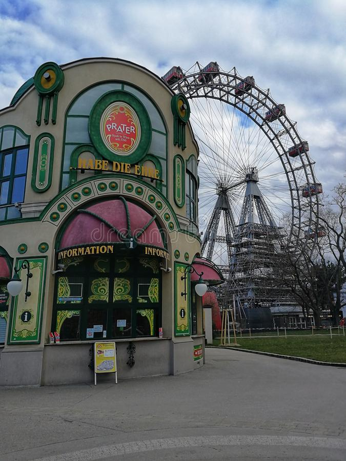 Main entrance and Ferris wheel at the background in the Prater Park, Vienna, Austria stock photo