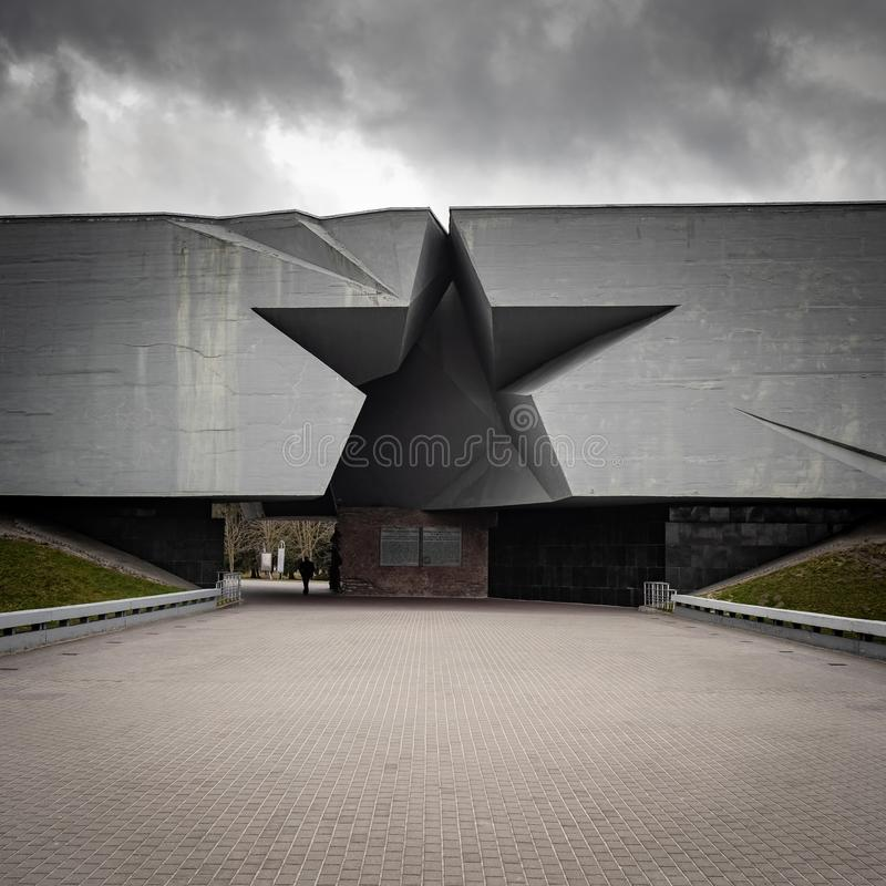 The main entrance in form of a Soviet star to the Brest Hero Fortress, a WWII memorial. Brest, Belarus - March 26, 2019: The main entrance in form of a Soviet royalty free stock photography