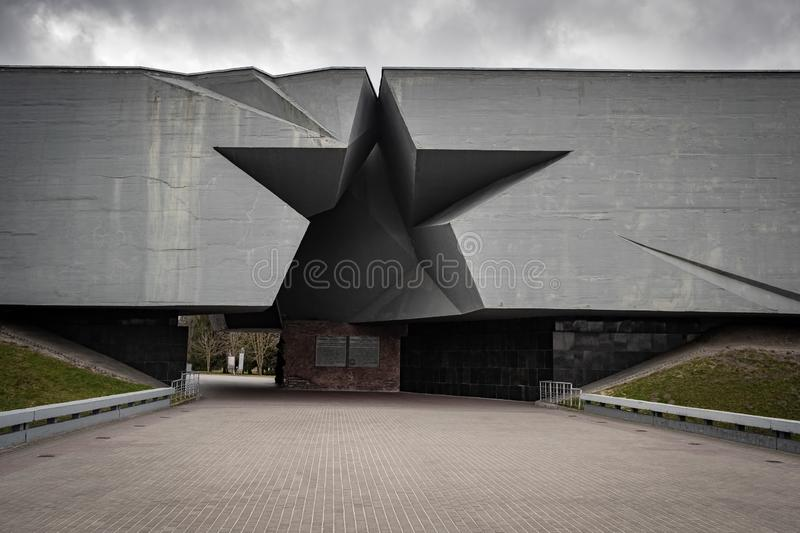 The main entrance in form of a Soviet star to the Brest Hero Fortress, a WWII memorial. Brest, Belarus - March 26, 2019: The main entrance in form of a Soviet stock images