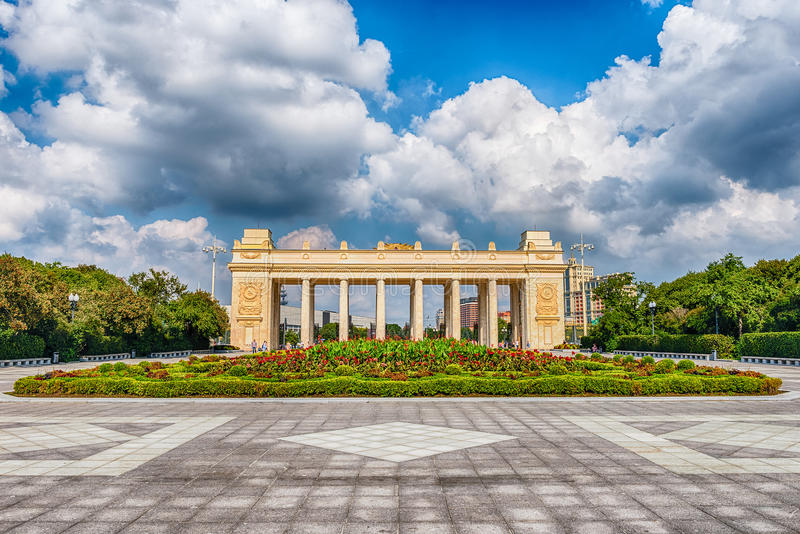 Main entrance gate of the Gorky Park, Moscow, Russia. Main entrance gate of the Gorky Park, one of the main citysights and landmark in Moscow, Russia royalty free stock photography