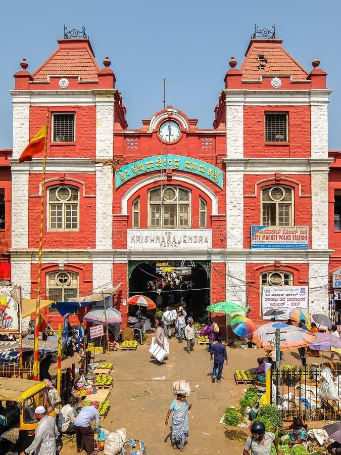 Main entrance gate of KR Market in Bangalore. Bangalore, India - Circa January, 2018. Main entrance gate of KR Market in Bangalore stock photography