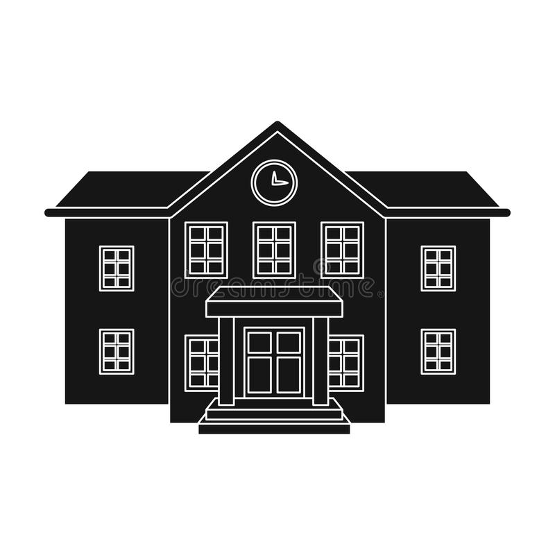 The main entrance of the institution . The school clock above the entrance.School And Education single icon in black. Style vector symbol stock web illustration stock illustration