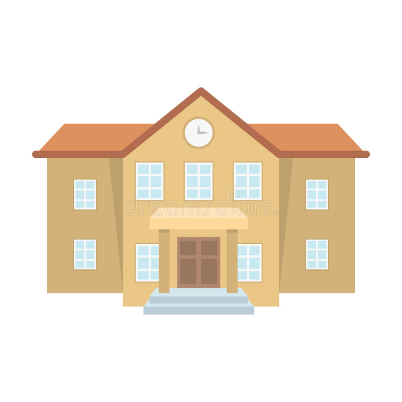 The main entrance of the institution . The school clock above the entrance.School And Education single icon in cartoon. Style vector symbol stock web stock illustration