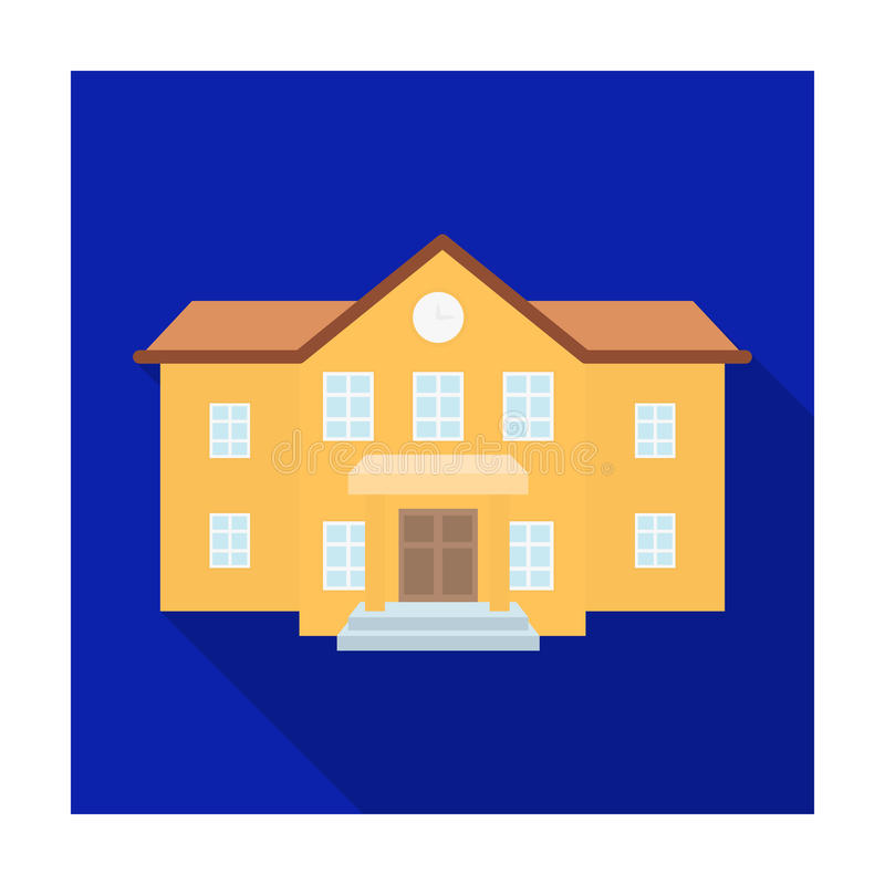 The main entrance of the institution . The school clock above the entrance.School And Education single icon in flat. Style vector symbol stock web illustration vector illustration