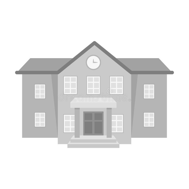 The main entrance of the institution . The school clock above the entrance.School And Education single icon in. Monochrome style vector symbol stock web stock illustration