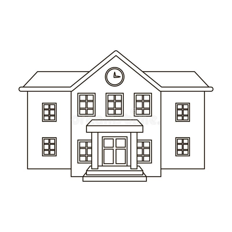 The main entrance of the institution . The school clock above the entrance.School And Education single icon in outline. Style vector symbol stock web vector illustration