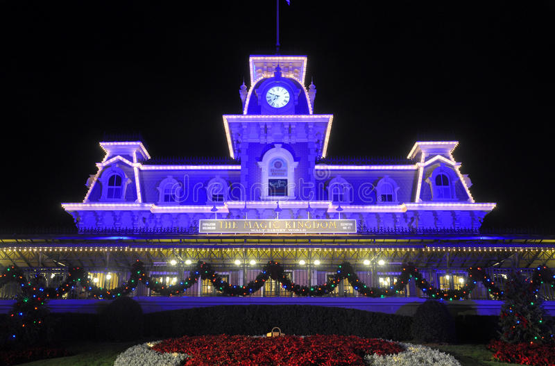 Main Entrance of Magic Kingdom of Disney at night stock photo