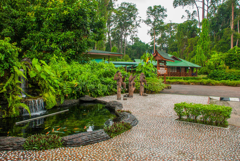 Main entrance of Orang Utan Rehabilitation Centre pictured. Sandakan Sabah Malaysia. The centre is founded in 1964, to rehabilitate orphan orangutans royalty free stock photos