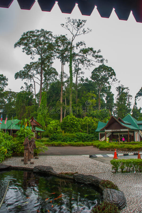 Main entrance of Orang Utan Rehabilitation Centre pictured. Sandakan Sabah Malaysia. The centre is founded in 1964, to rehabilitate orphan orangutans stock images