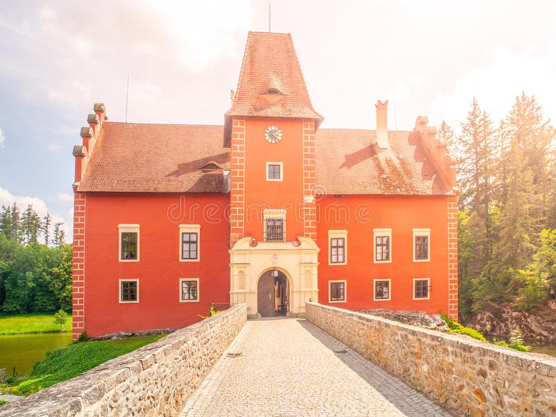 Main entrance over the bridge to Cervena Lhota - romantic red water castle, Czech Republic royalty free stock photos
