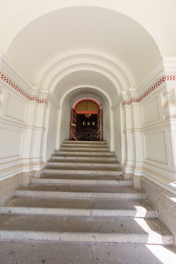 Main entrance staircase in Shipka Memorial Church Monastery, Bulgaria royalty free stock photos