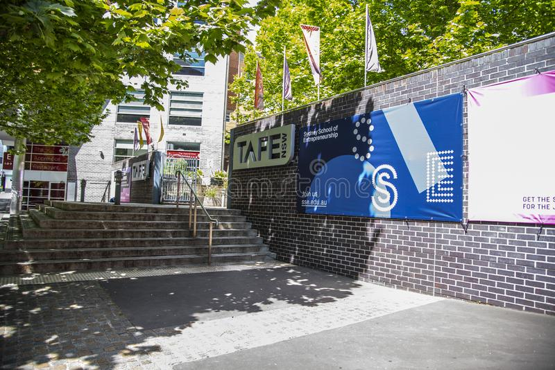 The main entrance of TAFE ultimo campus, is Australia`s largest vocational education and training provider. SYDNEY, AUSTRALIA. - On October 14, 2019. - The main royalty free stock images