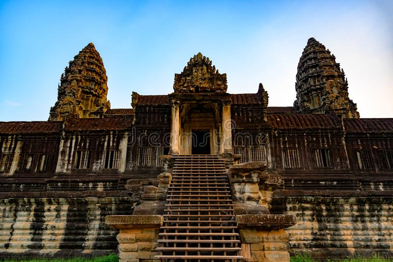 Upper gallery with main entrance and towers of Angkor Wat, Khmer Temple, Siem Reap, Cambodia. Main entrance to Ankor Wat, the largest Hindu Temple in the world stock image