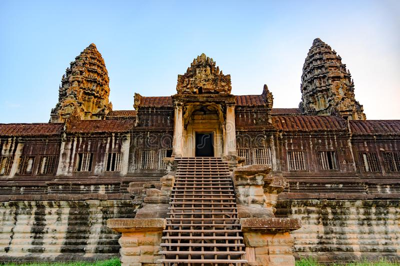 Angkor Wat, Khmer Temple, Siem Reap, Cambodia. Stairway to upper gallery and towers of Angkor Wat.. Main entrance to Ankor Wat, the largest Hindu Temple in the stock images