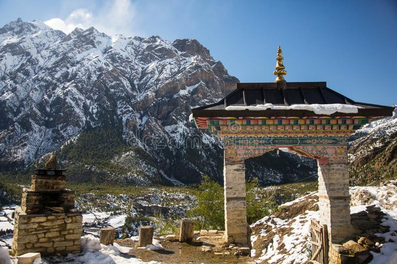 Main entrance to the Buddhist temple on Annapurna circuit, Nepal.  stock images