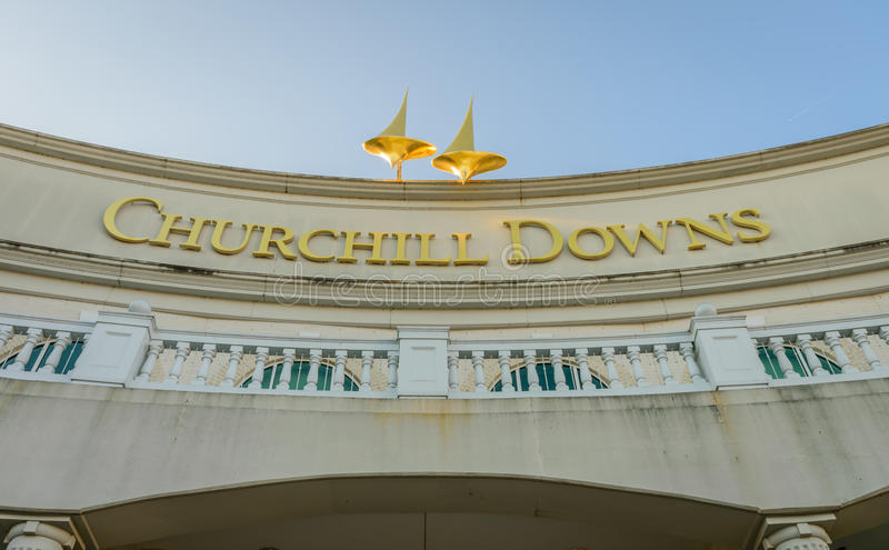 Main Entrance to Churchill Downs. LOUISVILLE KENTUCKY, USA - MAY 15, 2016. Main Entrance to Churchill Downs where the Kentucky Derby is held on the first stock photos