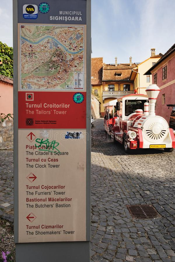 Main entrance to historical center of Sighisoara stock photography