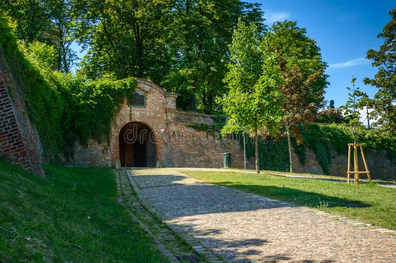 Main entrance to the Spilberk castle, defensive walls from the park side stock photo
