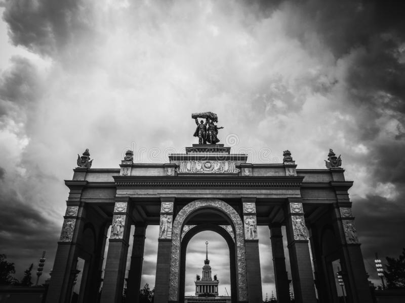 The main entrance to VDNKh in Moscow royalty free stock photography