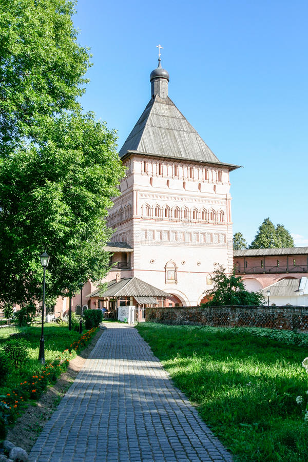 The main entrance tower of the Saviour Monastery of St. Euthymius, Russia, Suzdal royalty free stock photos