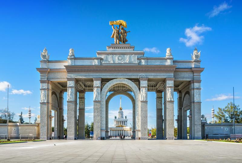 Main entrance of VDNH. The main entrance of VDNH in Moscow under a blue sky on a sunny autumn day stock images