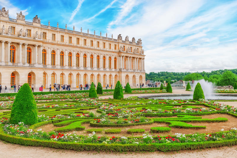 Main entrance of Versailles. Palace Versailles was a Royal Cha. VERSAILEES, FRANCE- JULY 02, 2016 : Main entrance of Versailles. Palace Versailles was a Royal stock photo