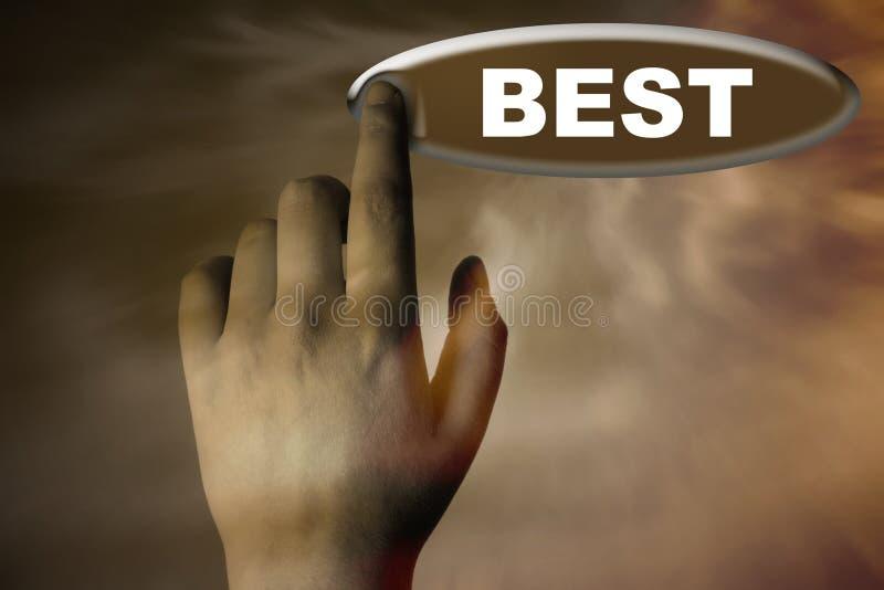 Main et bouton avec le mot du MEILLEUR photos stock