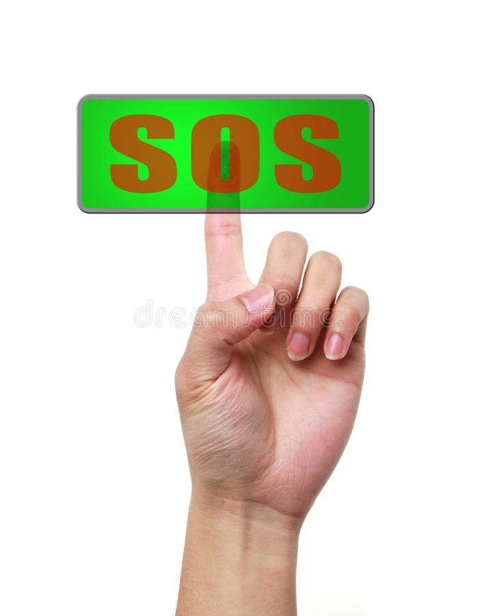 Main et bouton SOS images stock