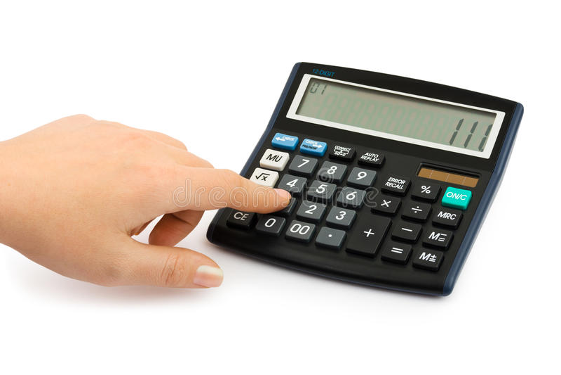 Main et calculatrice d'affaires photographie stock libre de droits