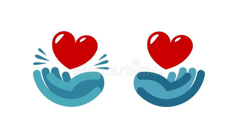Main et coeur, logo Soin, santé, icône de charité ou label Illustration de vecteur illustration libre de droits