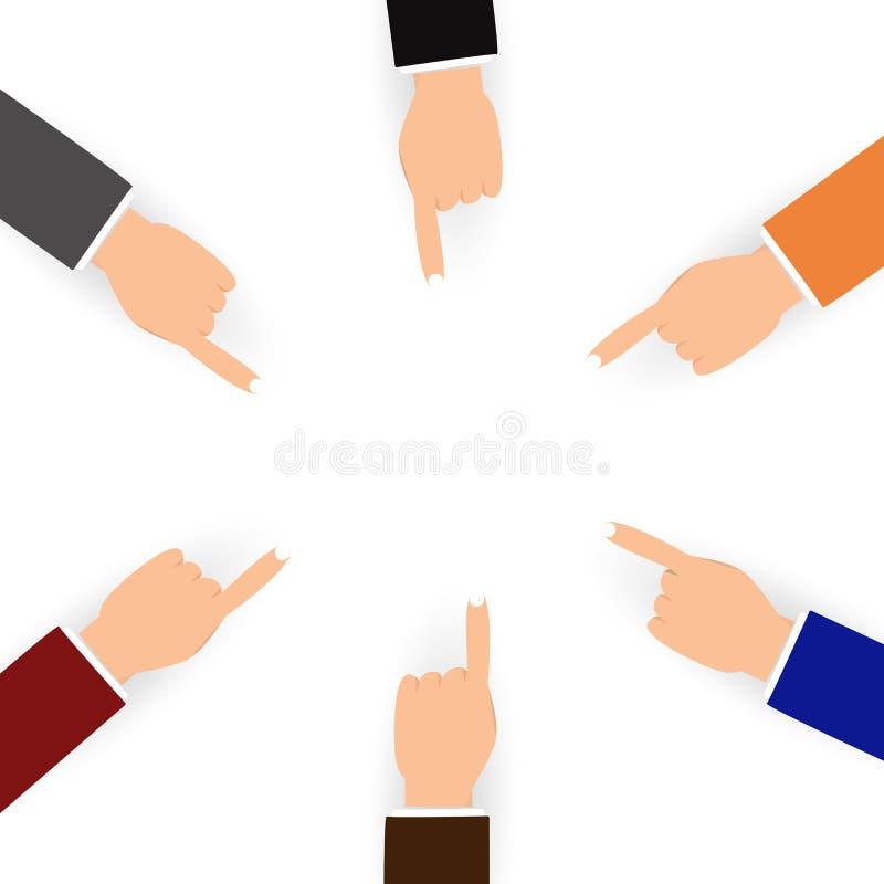 Main et doigt d'affaires avec le pointage différent de personnes d'isolement illustration stock